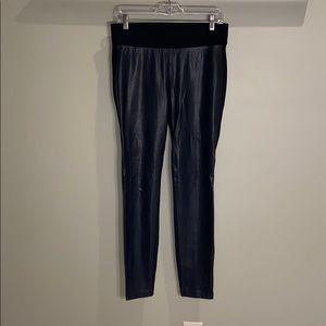 LOFT black leggings with faux leather front